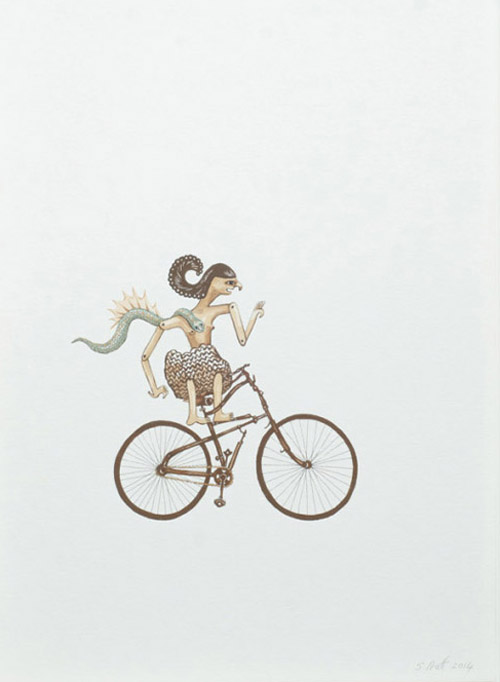 sarah-pratt_away_cycling-shadow-puppet-with-pet_gouache-and-ink-on-paper