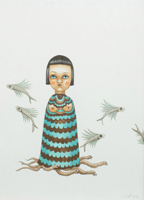 sarah-pratt_away_finger-puppet-on-striped-worms_gouache-and-ink-on-paper024