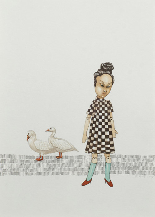 Sarah-pratt_away_paper-puppet-and-geese_gouache-and-ink-on-paper