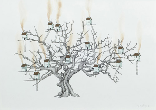 Sarah-pratt_away_treehouse-I_gouache-and-ink-on-paper